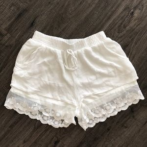 Pants - S SUMMER WHITE LACE VACATION DOUBLE LAYER SHORTS